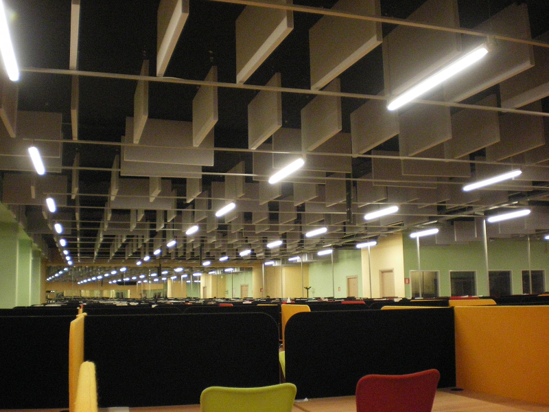Call center acoustic treatment with baffles