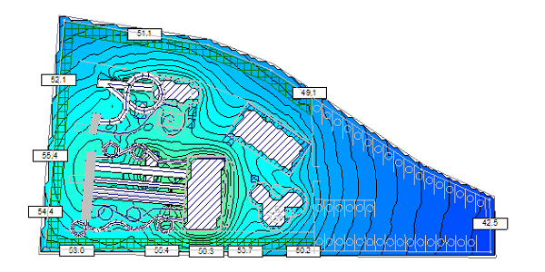 Waterpark noise map before treatment
