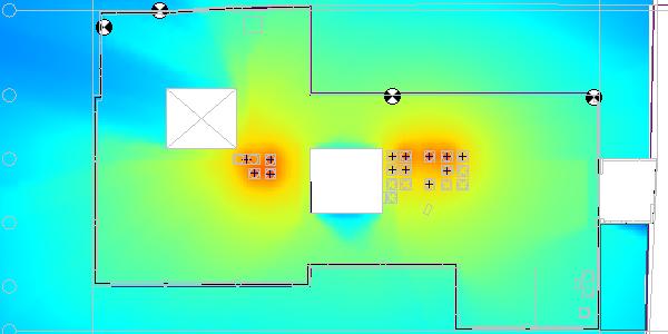 Roof HVAC equipment noise map